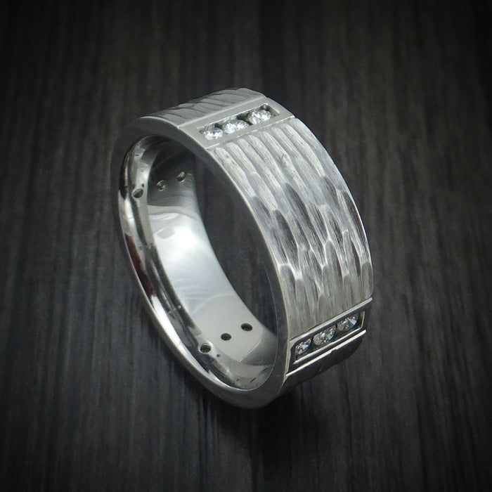 Titanium and Diamond Tree Bark Finish Custom Ring