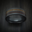 Black Zirconium and Dinosaur Bone Inlays Custom Ring