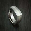 14K White Gold and Titanium Ring Square Band any Sizing from 3-22