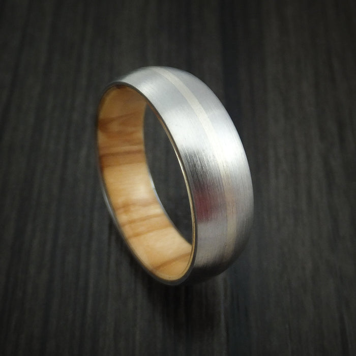 Titanium Ring with 14k White Gold Inlay and Olive Wood Sleeve Made to Any Sizing and Finish