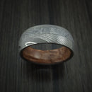 Damascus Steel and Gibeon Meteorite Band with Hardwood Sleeve Custom Made Band