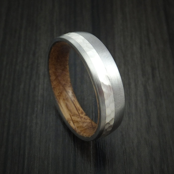 Titanium and Silver Ring with Hardwood Sleeve Hammered Wedding Band Custom Made