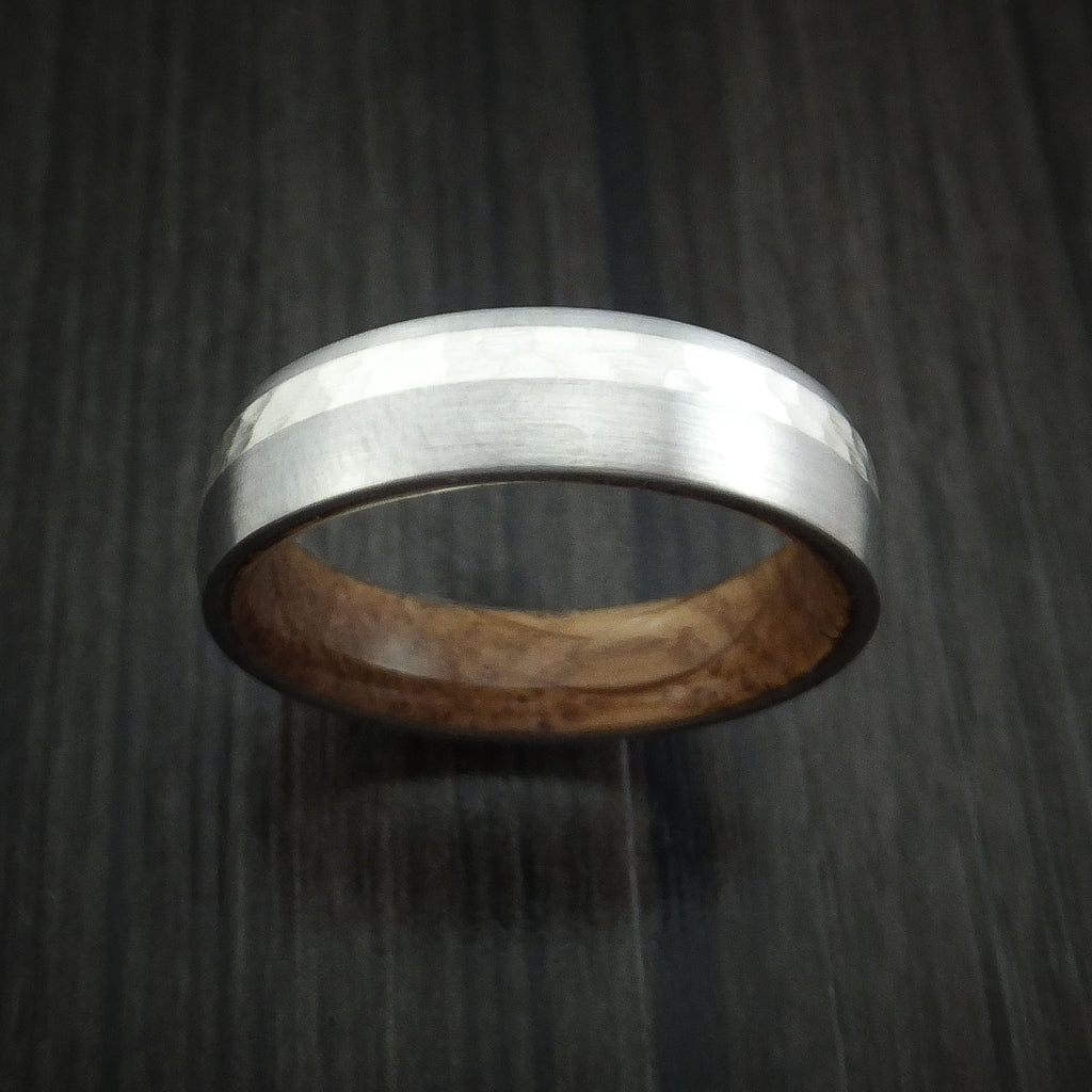 Famous Titanium and Silver Ring with Whiskey Barrel Wood Sleeve Hammered  ZP29