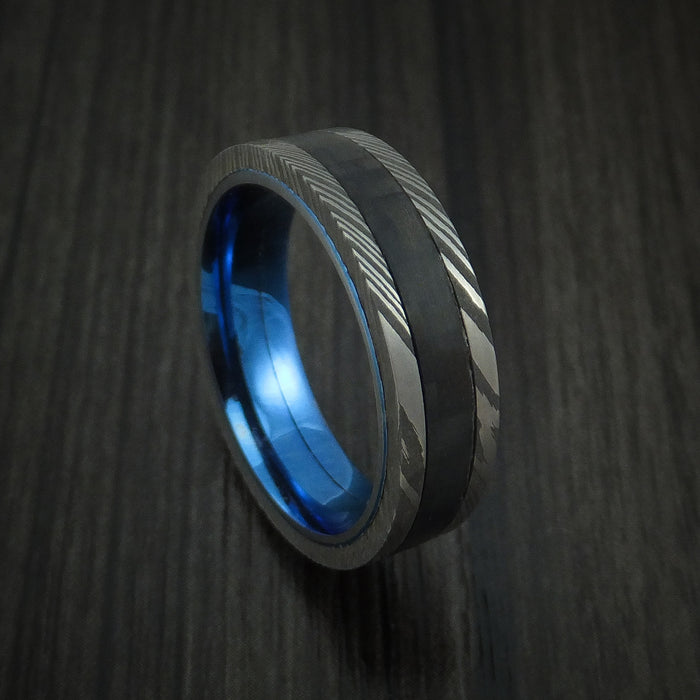 Damascus Steel and Carbon Fiber Ring Custom Made Band with Anodized Blue Titanium Interior
