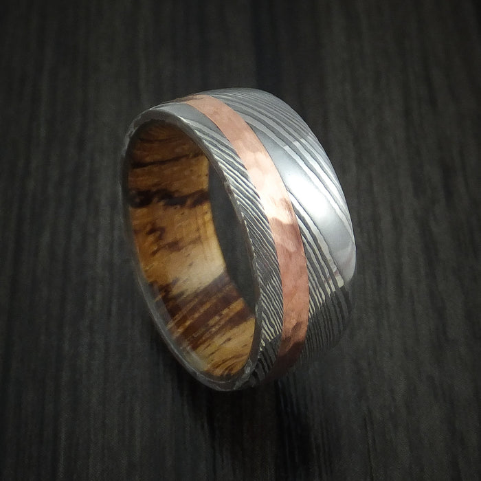 Damascus Steel Band with Hammered 14k Rose Gold and Zebrawood Wood Sleeve Custom Made