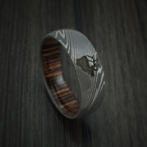 Damascus Steel Band with Heritage Brown Wood Sleeve and Custom Elk Engraving Hunter's Band