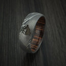 Damascus Steel Band with Ziriciote Hardwood Sleeve and Custom Elk Engraving Hunter's Band