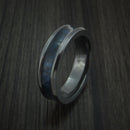 Black Zirconium and WOOD Ring inlaid in BLUEBERRY WOOD Custom Made to Any Size and Optional Wood Type