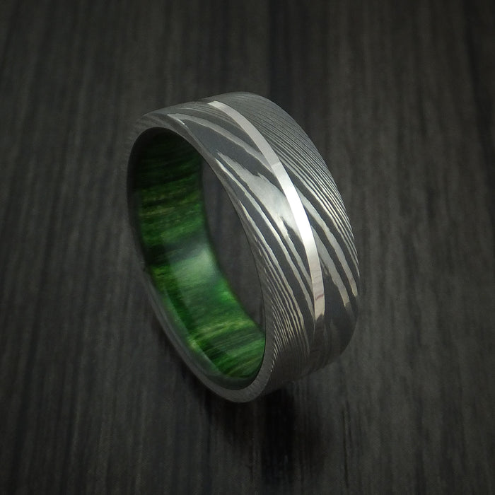 Damascus Steel and Platinum Ring with Jade Wood Hardwood Sleeve Custom Made Band