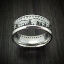 Cobalt Chrome Eternity Lab Diamond Ring with Pine Trees and Mountain Design