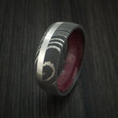 Damascus Steel Band with Platinum and Purple Heart Wood Sleeve Custom Made