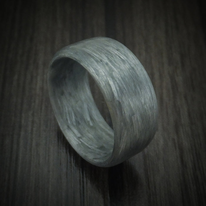 Solid Silver Texalium Carbon Fiber Ring Custom Made Pattern Band