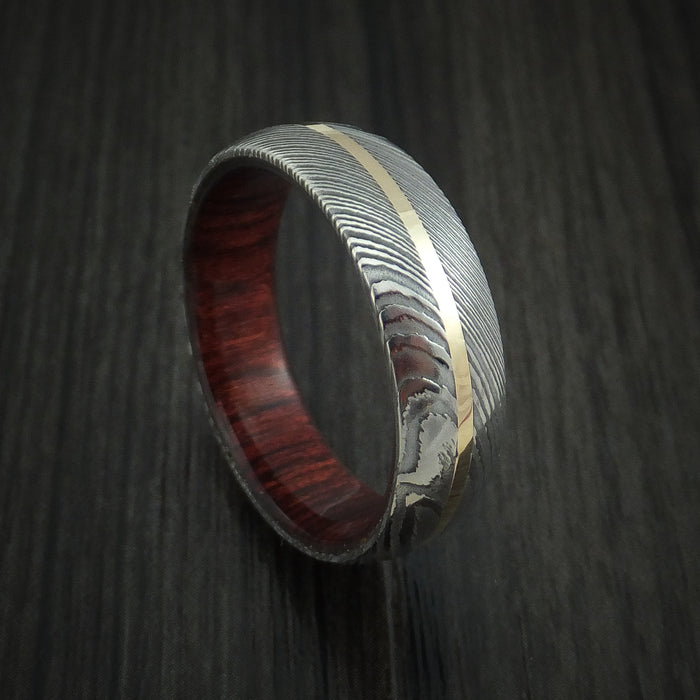 Damascus Steel Ring with 14k Yellow Gold Inlay and Red Heart Wood Hardwood Interior Sleeve Custom Made Band