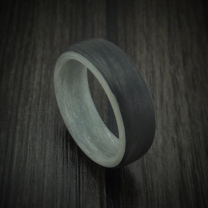 Carbon Fiber And Blue Glow Sleeve Ring Custom Made