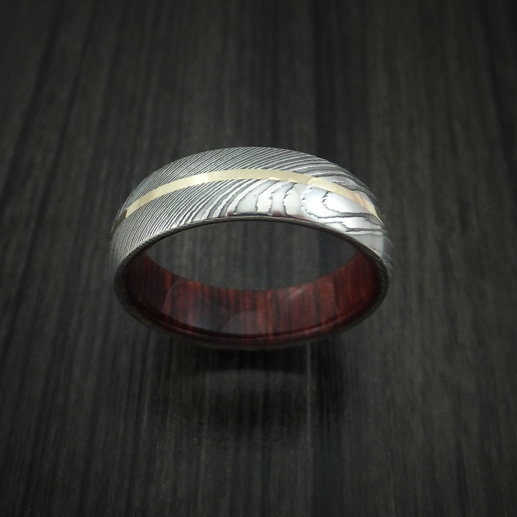 Damascus Steel Ring With 14k Yellow Gold Inlay And Red Heart Wood Hard Revolution Jewelry Designs