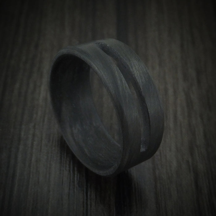 Solid Carbon Fiber Ring with Cutout Custom Made Band