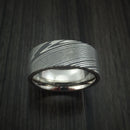 Damascus Steel Ring with Titanium Sleeve Custom Made Band