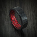 Carbon Fiber And Red Sparkle Sleeve Ring Custom Made