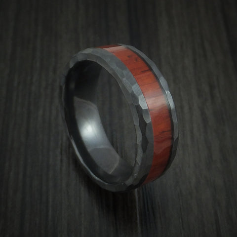 Black Zirconium Rock Hammered Padauk Hard Wood Ring Custom Made Band