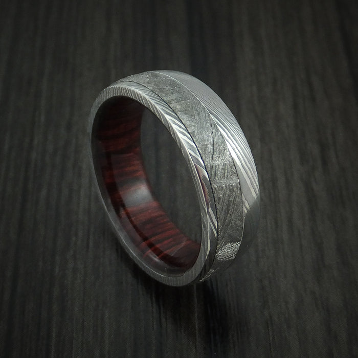 Damascus Steel Ring with Gibeon Meteorite and Red Heart Wood Hardwood Sleeve Custom Made Band