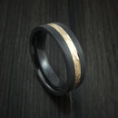 Black Zirconium and Hammered 14k Yellow Gold Band Custom Made Ring