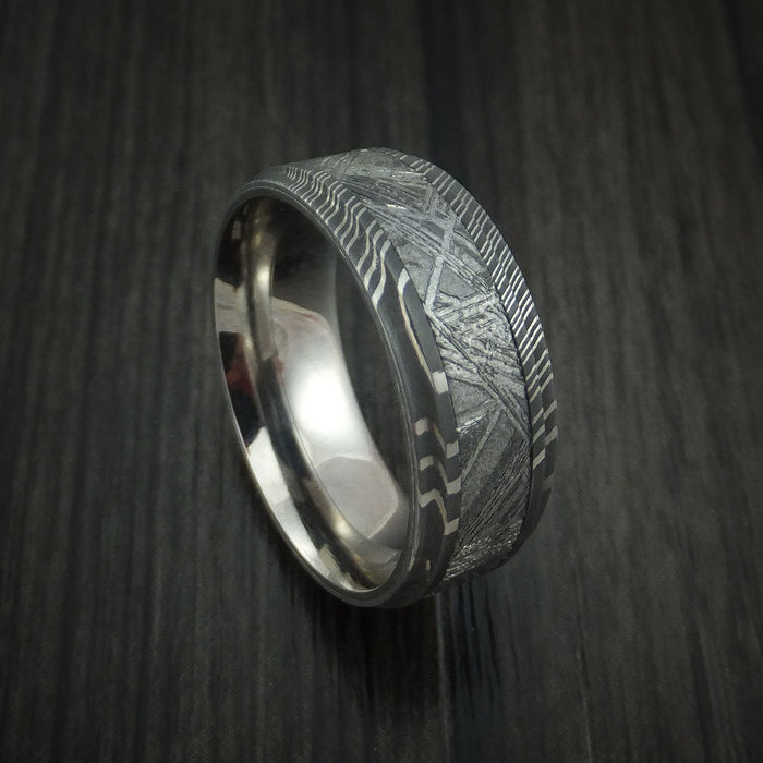 Damascus Steel and Meteorite Ring with Titanium Sleeve Custom Made Band
