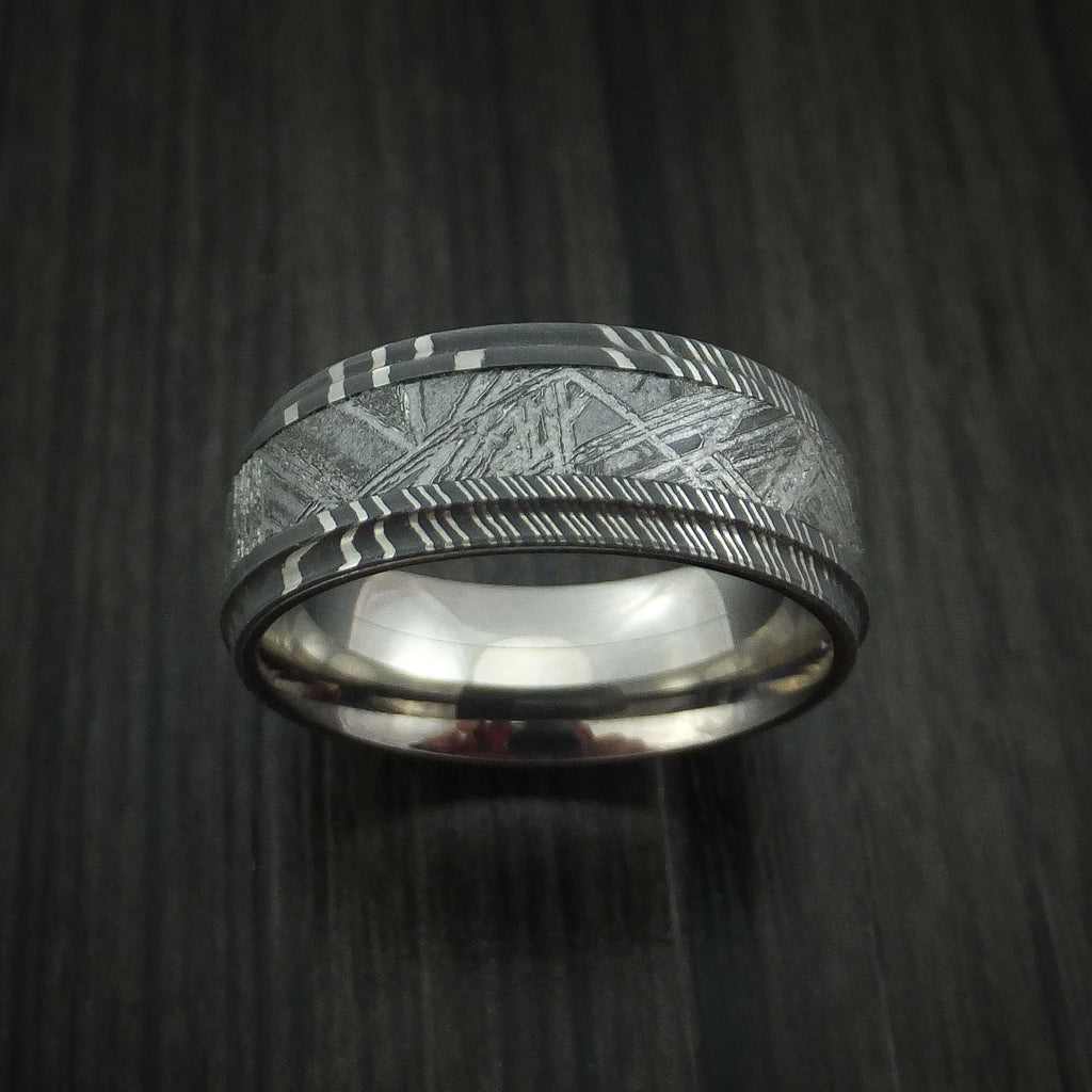 Damascus Steel And Meteorite Ring With Titanium Sleeve Custom Made Ban Revolution Jewelry Designs