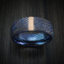 Kuro-Ti Twisted Titanium Etched and Heat-Treated Ring with Vertical 14K Gold Inlay Custom Made Band