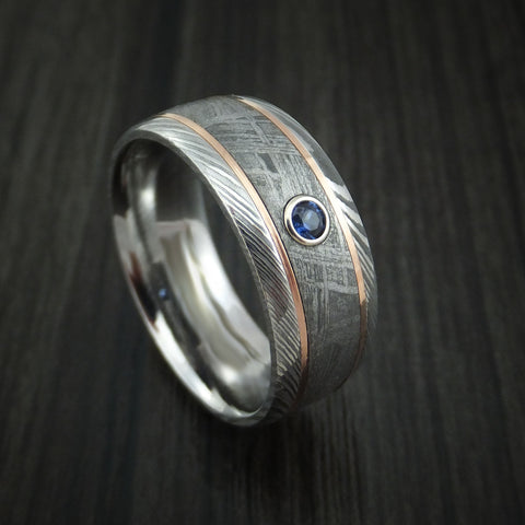 Damascus Steel and Gibeon Meteorite Ring with 14k Rose Gold Inlays and Sapphire Custom Made Band