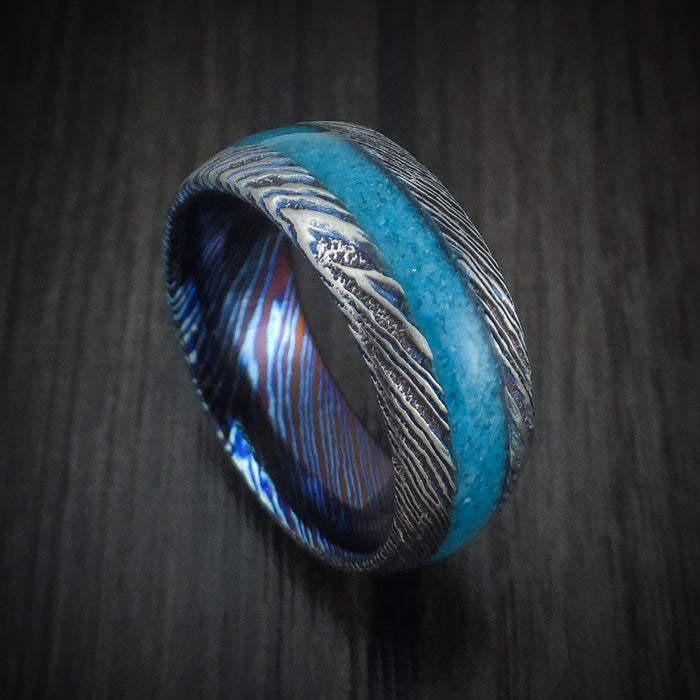 Kuro-Ti Twisted Titanium Etched and Heat-Treated Ring with Stone Inlay Custom Made Band
