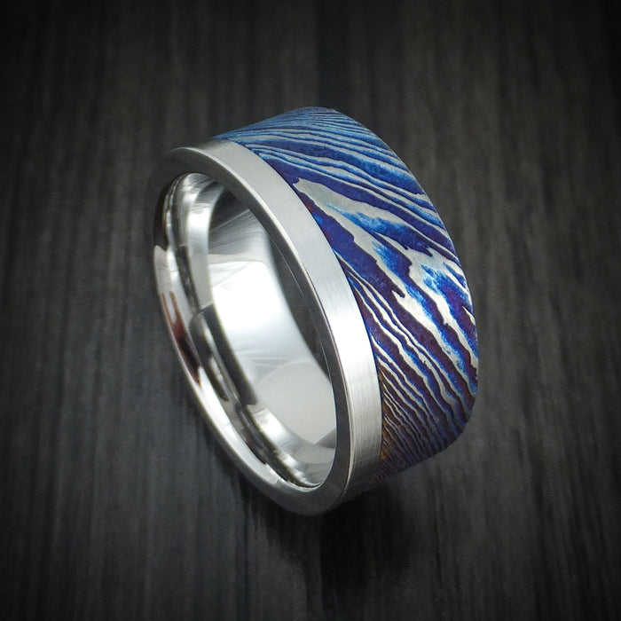 Cobalt Chrome and Kuro-Ti Twisted Titanium Etched and Heat-Treated Ring Custom Made Band
