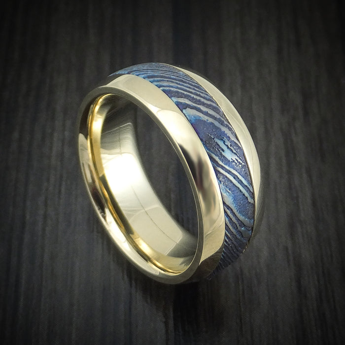 14K Gold and Kuro-Ti Twisted Titanium Etched and Heat-Treated Ring Custom Made Band