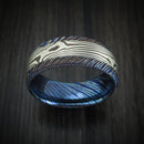 Kuro-Ti Twisted Titanium Etched and Heat-Treated Ring with Mokume Gane Inlay Custom Made Band
