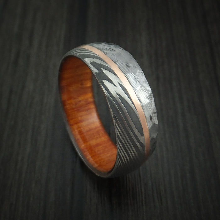 Damascus Steel and Angled 14k Rose Gold Ring with Rock Hammer Finish and Osage Orange Wood Sleeve Custom Made Band