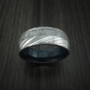 Damascus Steel Ring with Gibeon Meteorite and Blueberry Hardwood Sleeve Custom Made Band