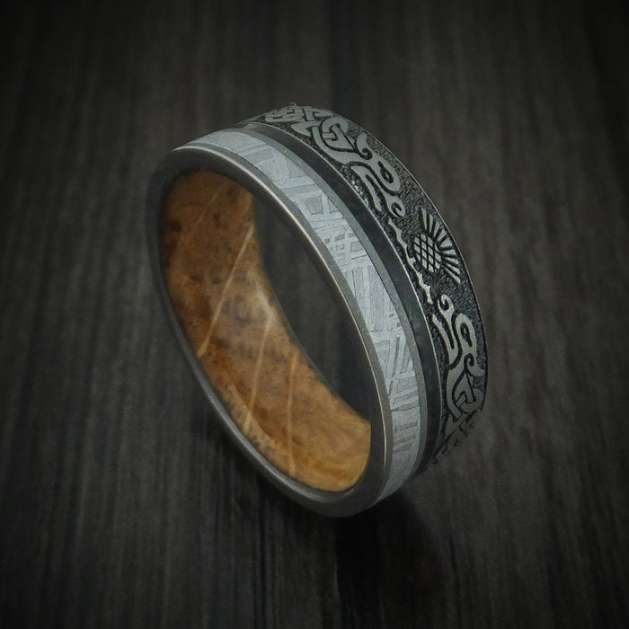 Titanium Dragon Celtic Ring with Meteorite and Dinosaur Bone along with a Hardwood Sleeve