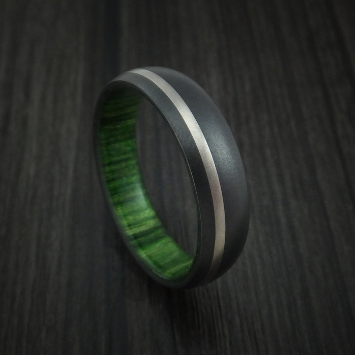 Black Zirconium Ring with Platinum Inlay and Jade Wood Sleeve Made to Any Sizing and Finish