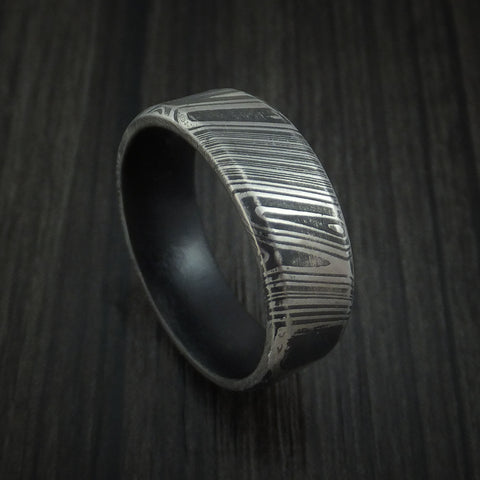 Kuro Damascus Steel Ring with Graphite Black Cerakote Sleeve Custom Made Band