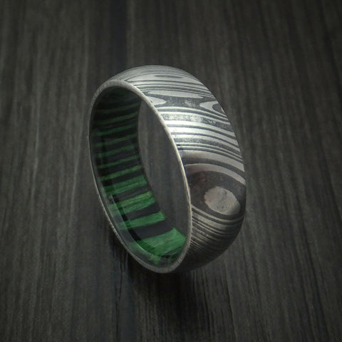 Kuro Damascus Steel Ring with Midnight Green Wood Hardwood Interior Sleeve Custom Made