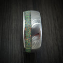 Damascus Steel Opal Ring Custom Made Band
