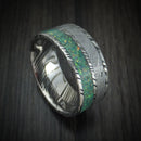 Kuro Damascus Steel and Meteorite Ring with Opal Custom Made Band