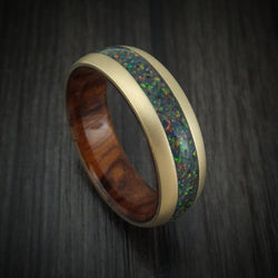 14K Gold and Opal Ring with Wood Sleeve Custom Made Band