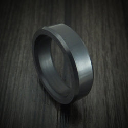 Elysium Black Diamond Slim Wedding Band Beveled With Polish Finish
