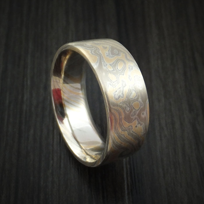 White Gold, Silver and Yellow Gold Mokume Ring Custom Made Band