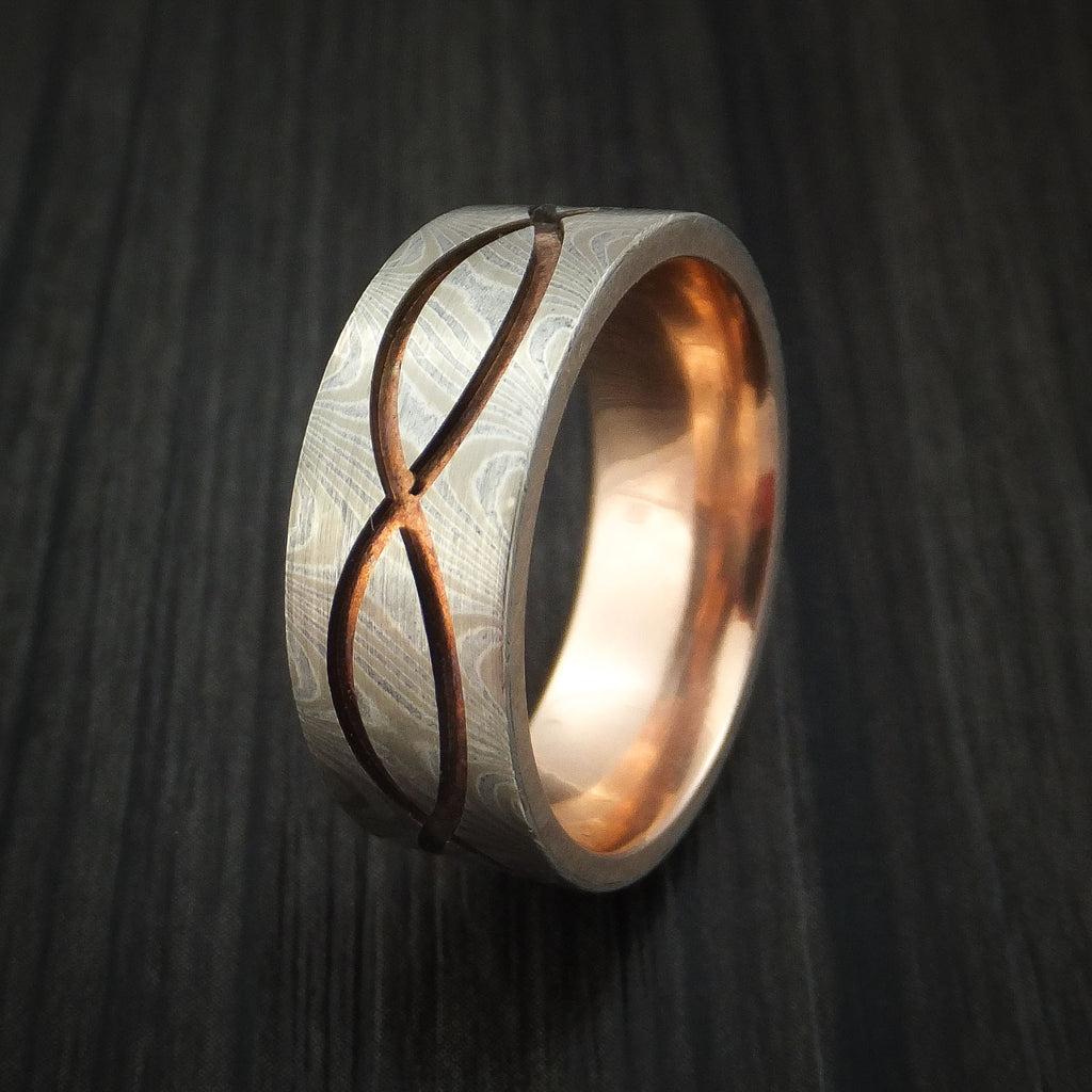 14k White Gold and Silver Infinity Mokume Gane Ring with Rose Gold Sleeve Custom Made Band
