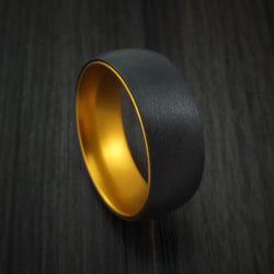 Black Zirconium with Gold Anodized Sleeve Custom Made Band Choose Your Color