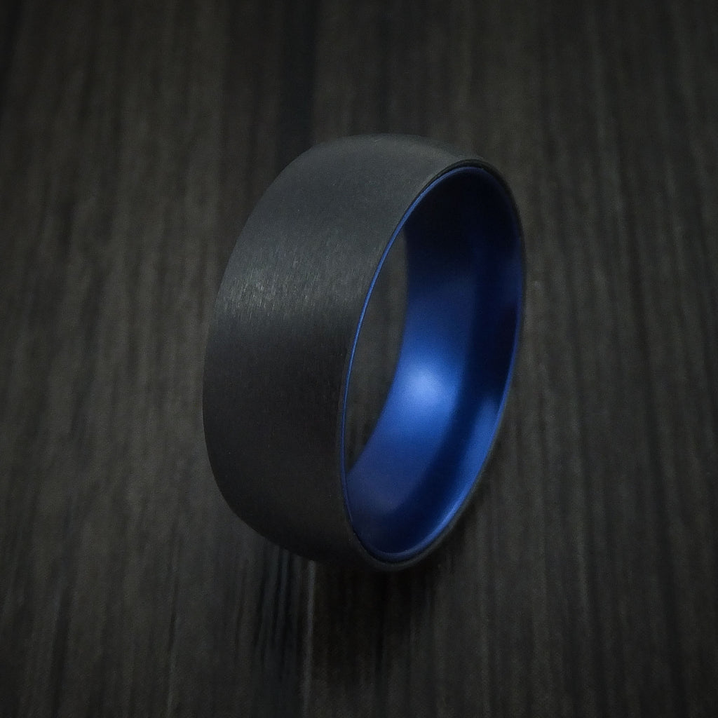 Black Zirconium with Blue Anodized Sleeve Custom Made Band Choose Your Color
