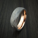 Damascus Steel Ring with Gibeon Meteorite and 14K Rose Gold Sleeve Custom Made Band