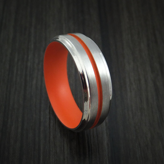 Titanium Ring with Hunter Orange Cerakote Groove and Sleeve Custom Made Band