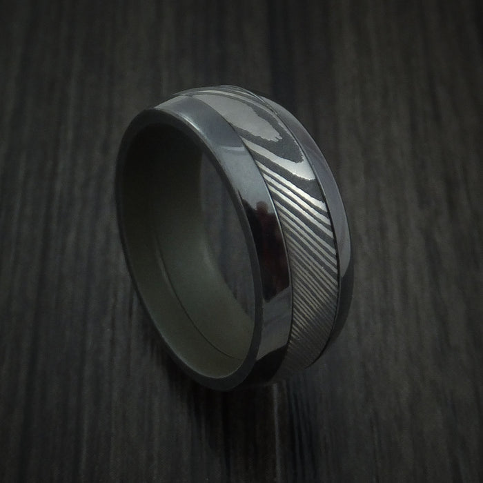 Black Zirconium and Damascus Steel Band with Vintage Green Cerakote Sleeve Custom Made Ring
